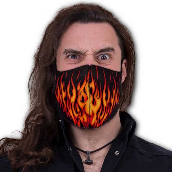 SPIRAL DIRECT Gothic Tribal Flames Face Mask